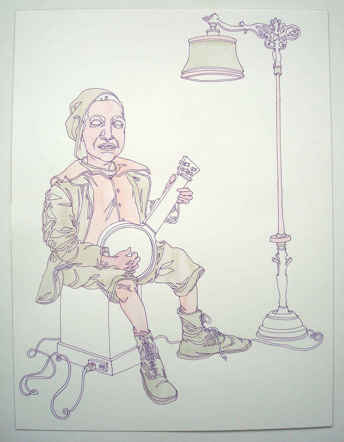 """""""Banjoist"""" Pen and watercolor on paper, 11""""x14"""""""