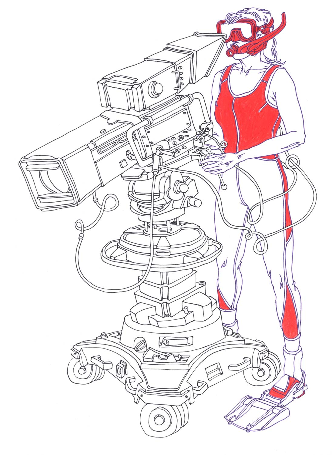 """""""Snorkeling CameraWoman"""" Pen and colored pencil on paper"""