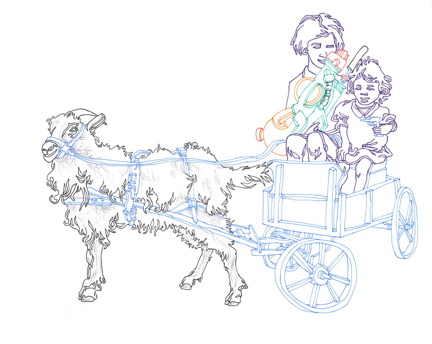 """""""Sheep Ride with SuperSoakers"""" Pen and ballpoint on paper"""