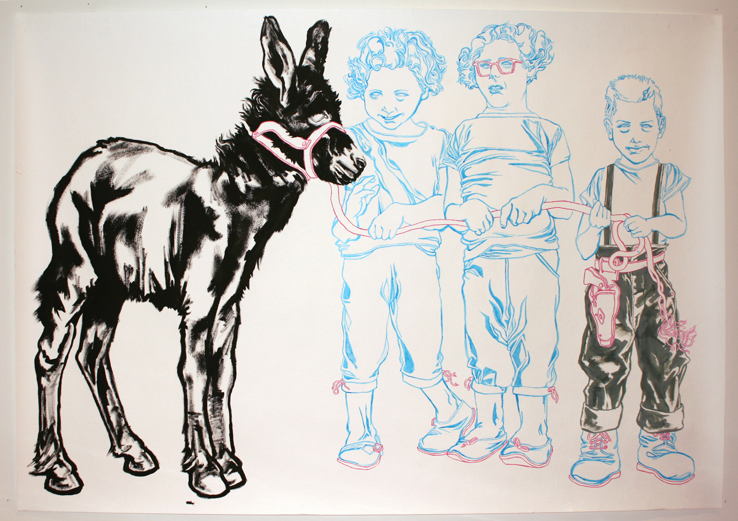 """""""Prize Burro"""" Gouache, acrylic, colored pencil, and pen on paper"""