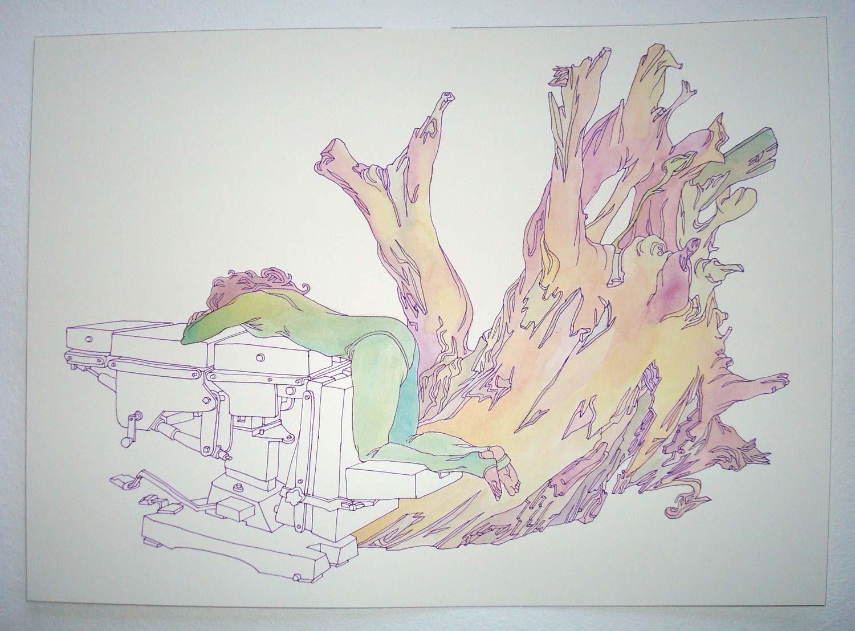 """""""Repair"""" pen and watercolor on paper, 11""""x14"""""""