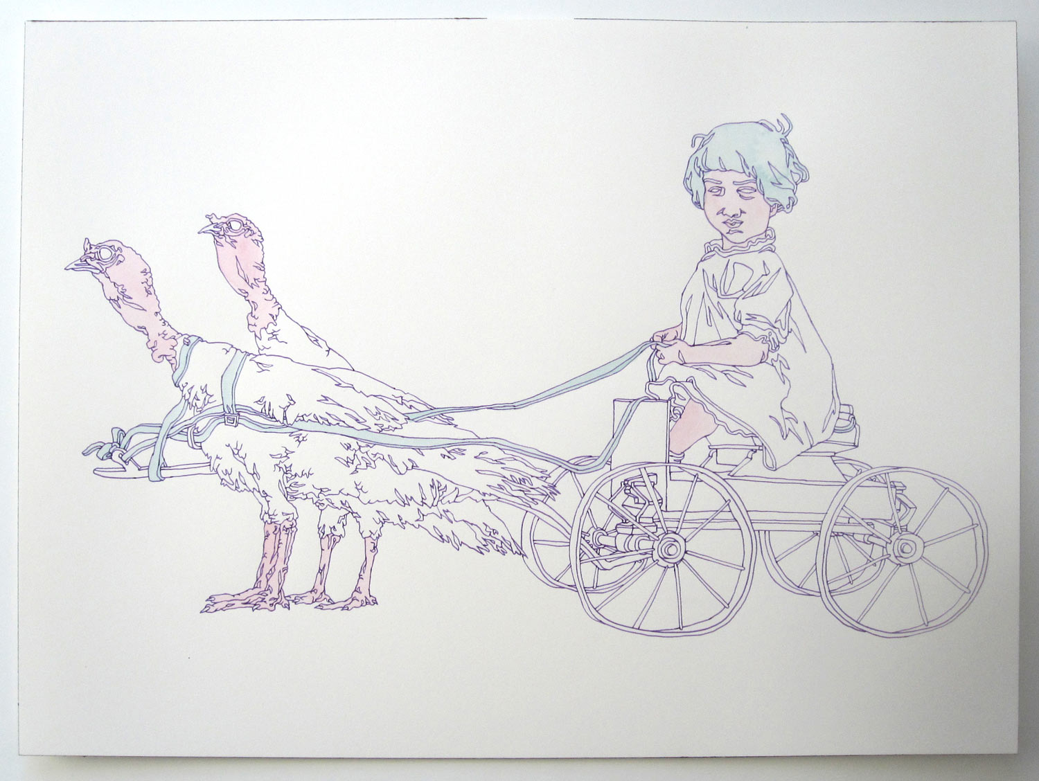 """""""Turkey Ride"""" pen and watercolor on paper, 11""""x14"""""""