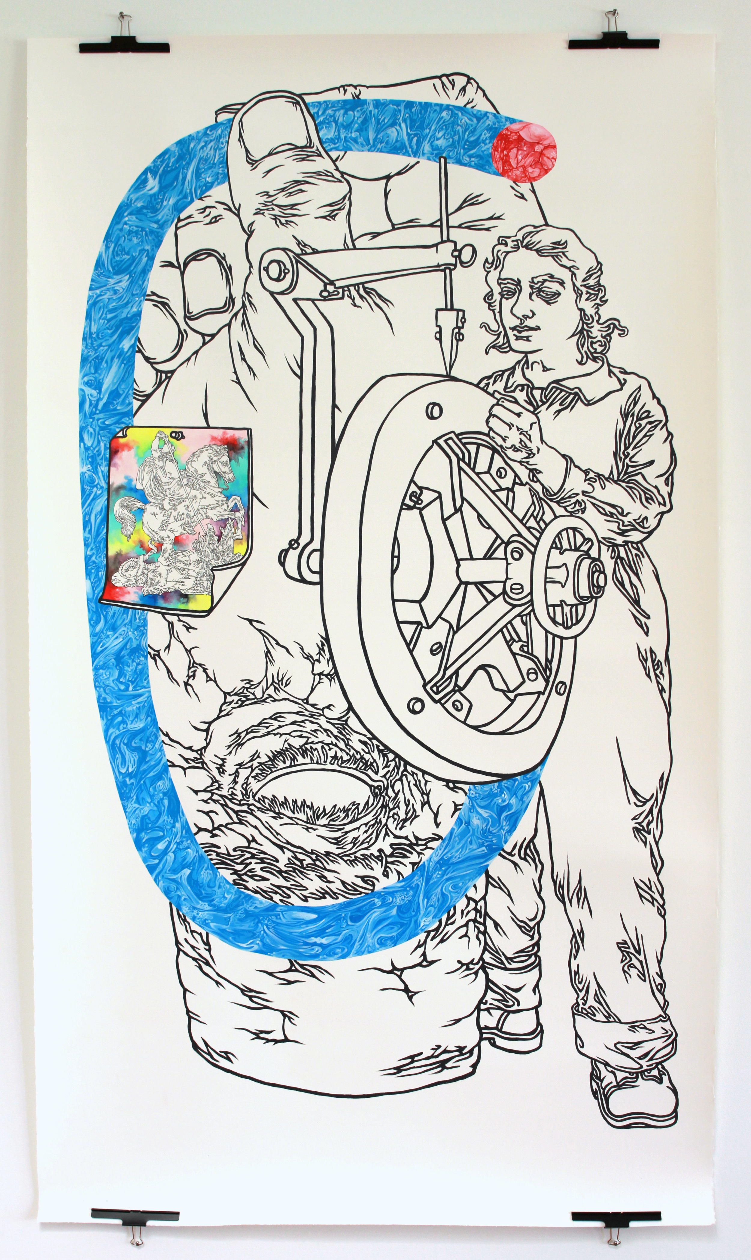 """""""Line Lady"""" 78""""x44,"""" acrylic, pen, and gouache on paper"""