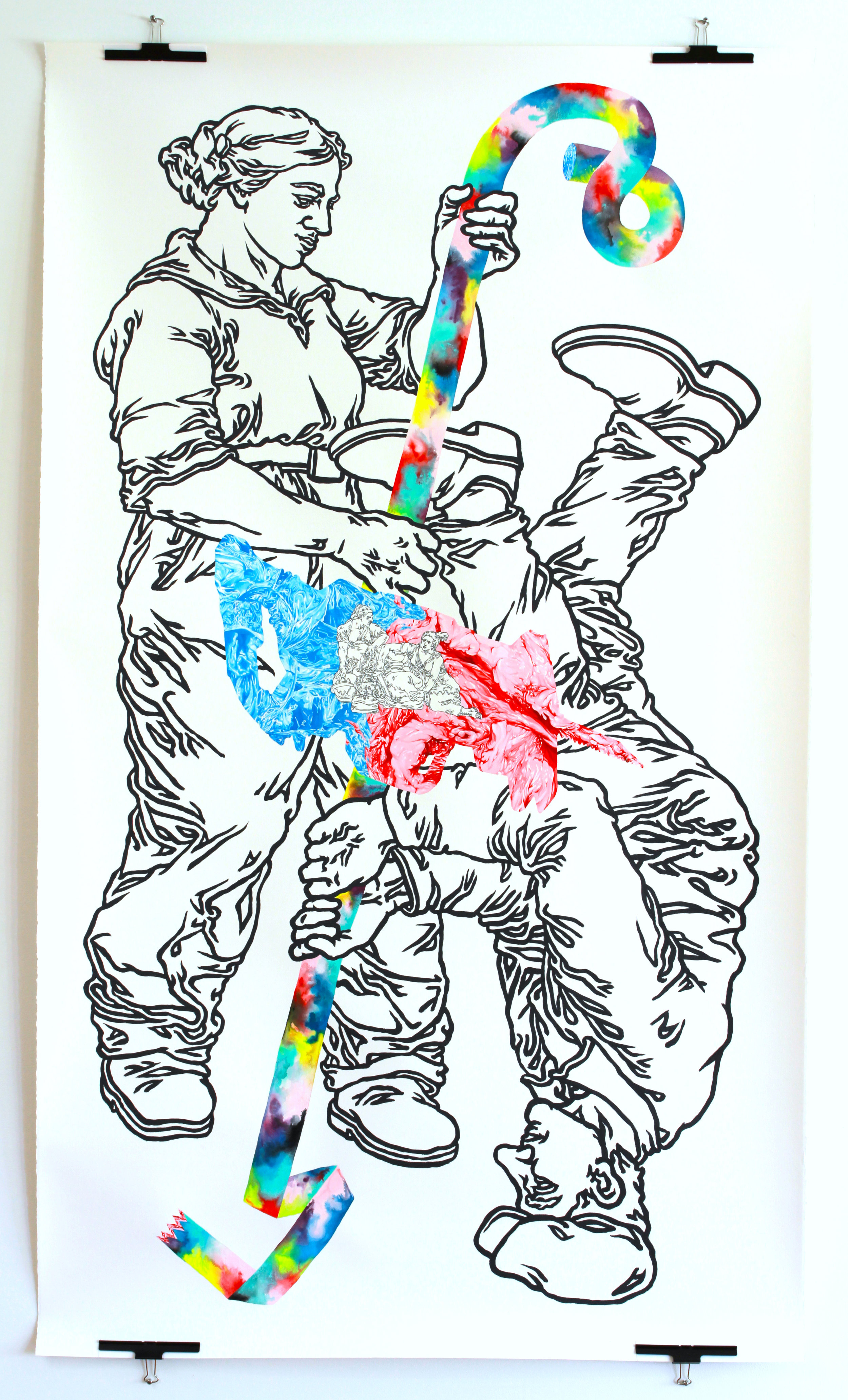 """""""SixtyLiners"""" 78""""x44,"""" acrylic, pen, and gouache on paper"""