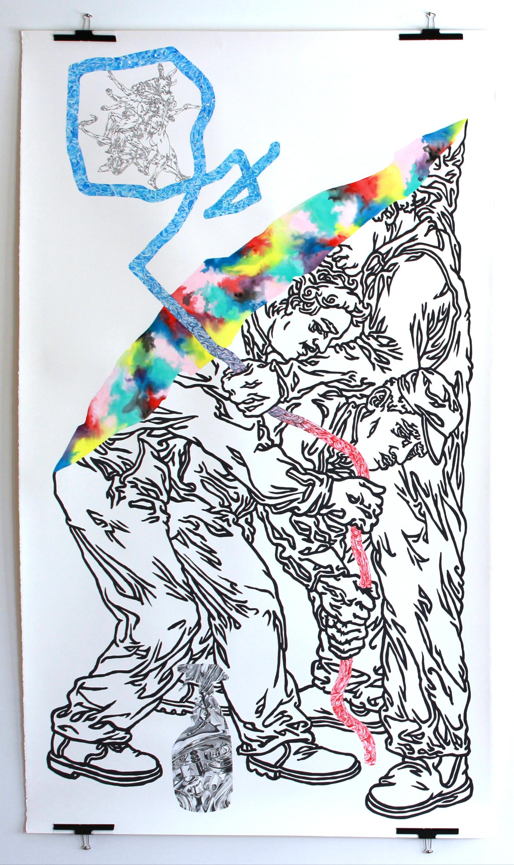 """Line Harvest"" 78""x44,"" acrylic, pen, and gouache on paper"