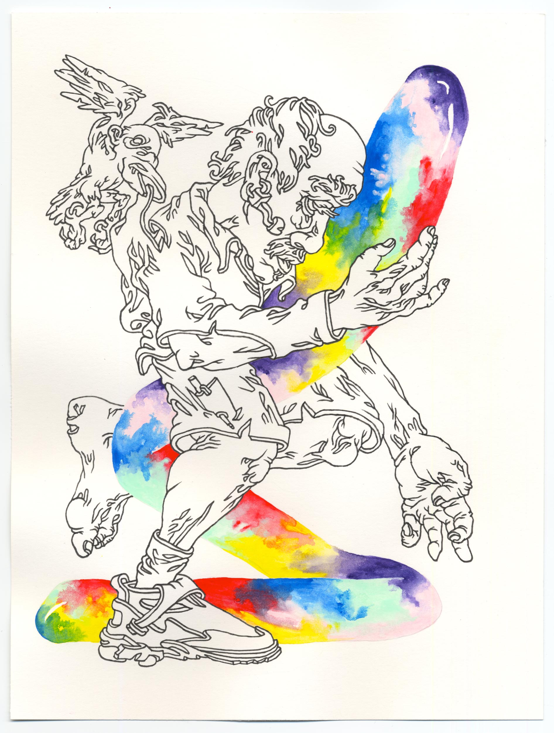 """""""Lineophile"""" Pen and gouache on paper, 10""""x7"""""""