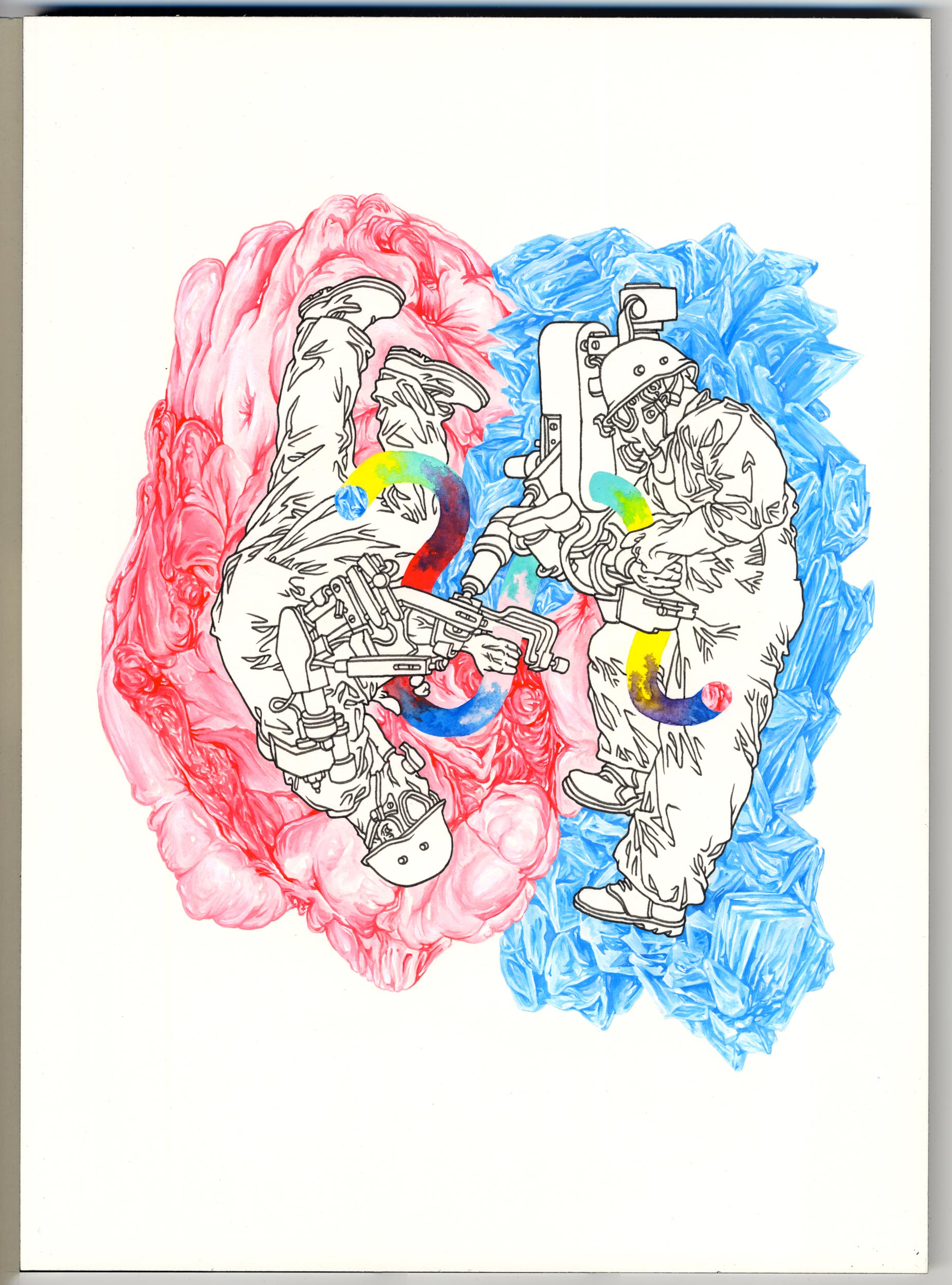 """""""Threaders"""" Pen and gouache on paper, 14""""x10"""""""