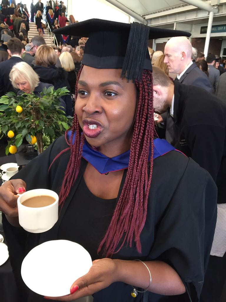 Oh, look at me with my cap and gown and my cup of tea, I've got this life thing down!