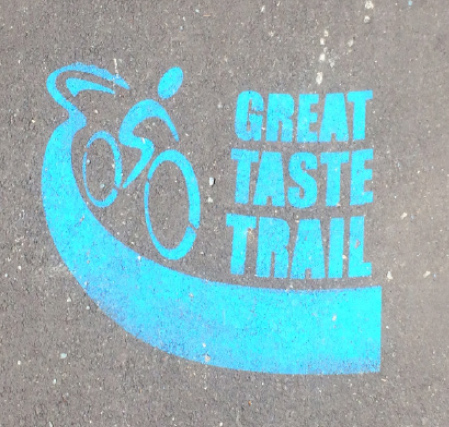 On some parts of the trail you will find painted logos like these to show you are on the right track.