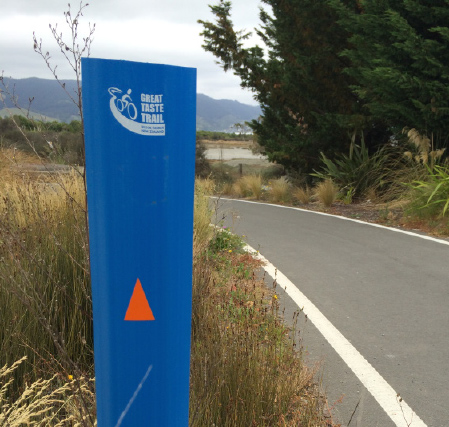 These are the main signs which help highlight where you are on the trail and which direction to go indicated by the orange arrow.