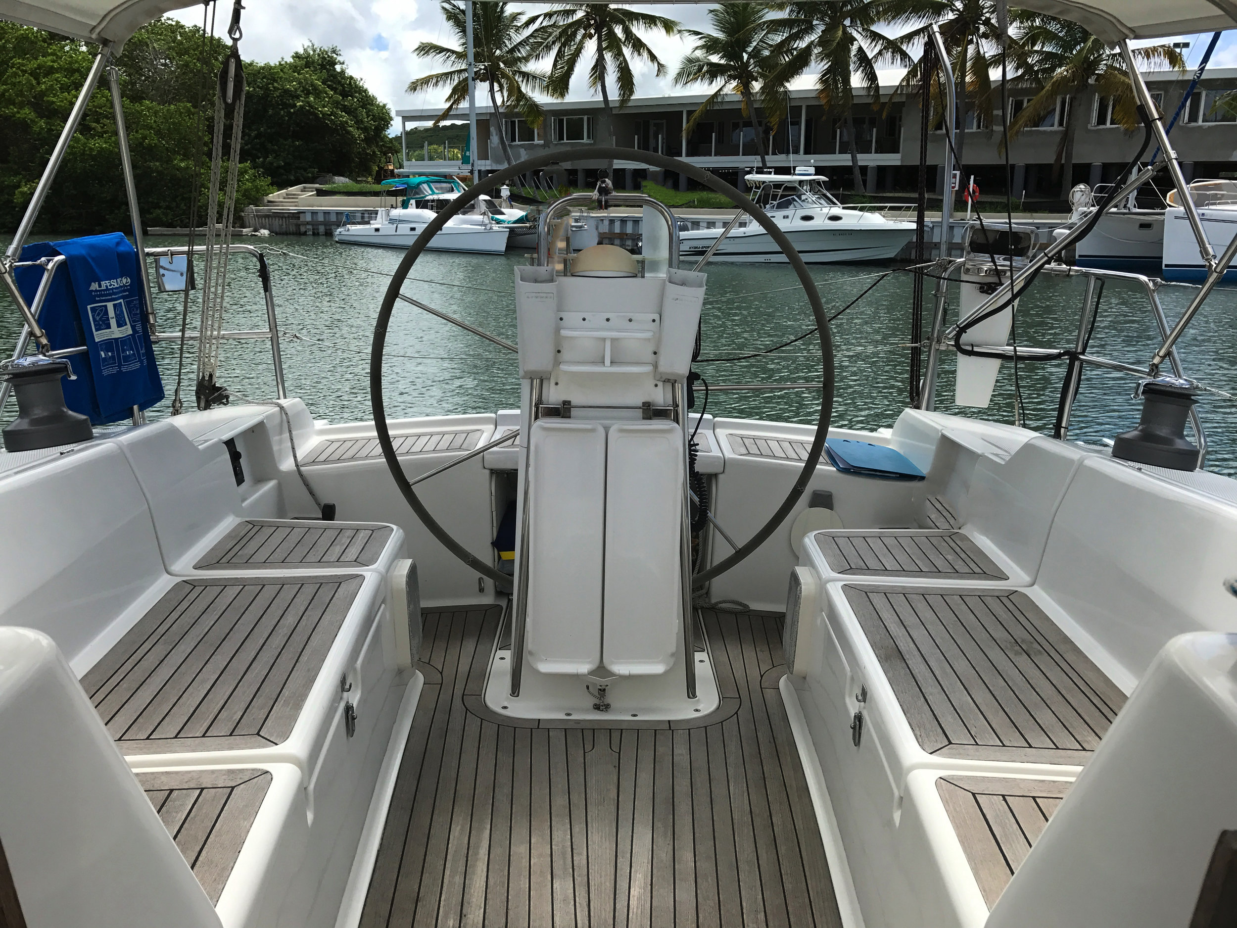 Lightheart's cockpit at the dock