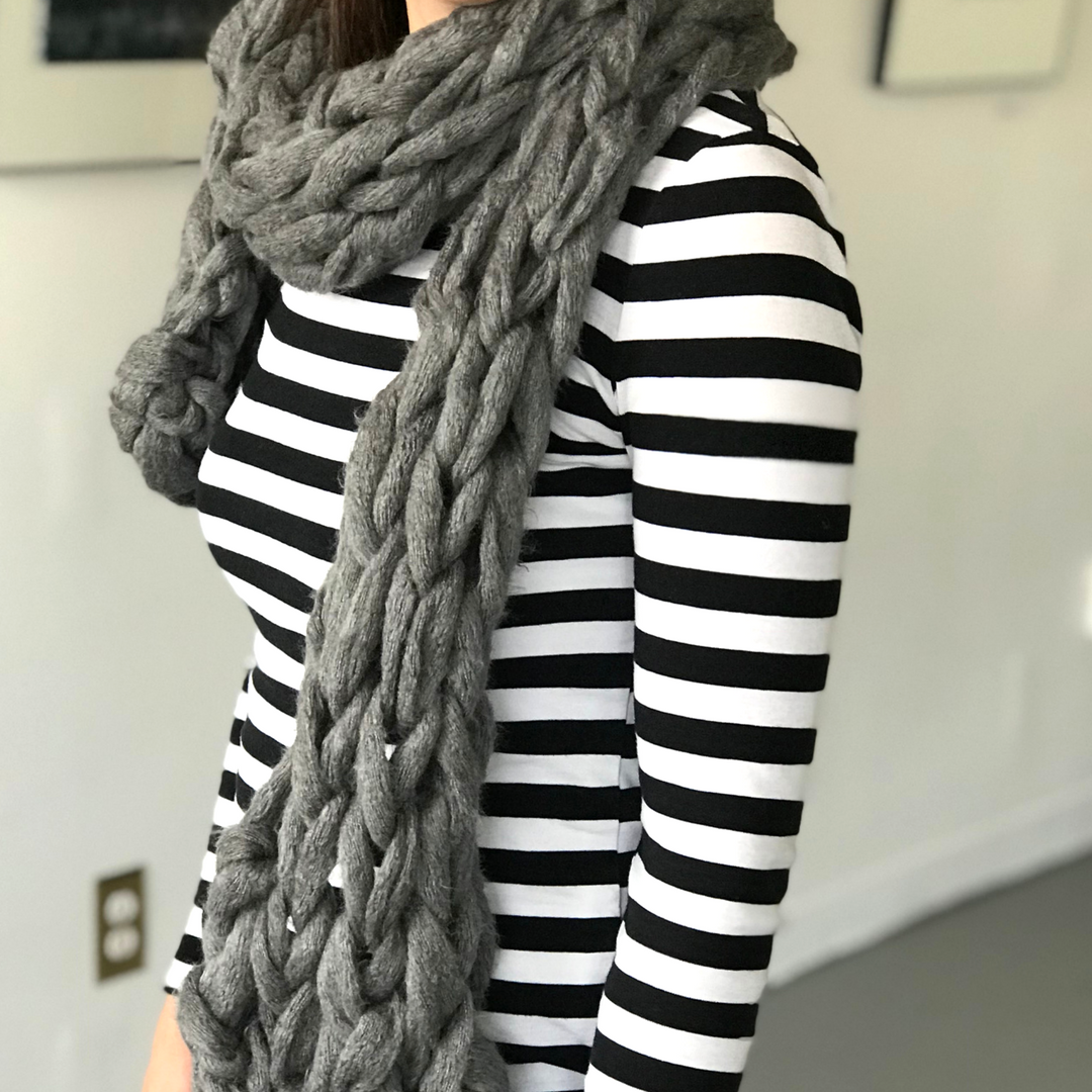 This was my seventh attempt at arm knitting and I'm still not 100% certain how I feel. And this photo was the best of 35 and not my favorite. But, it's fitting for this post.