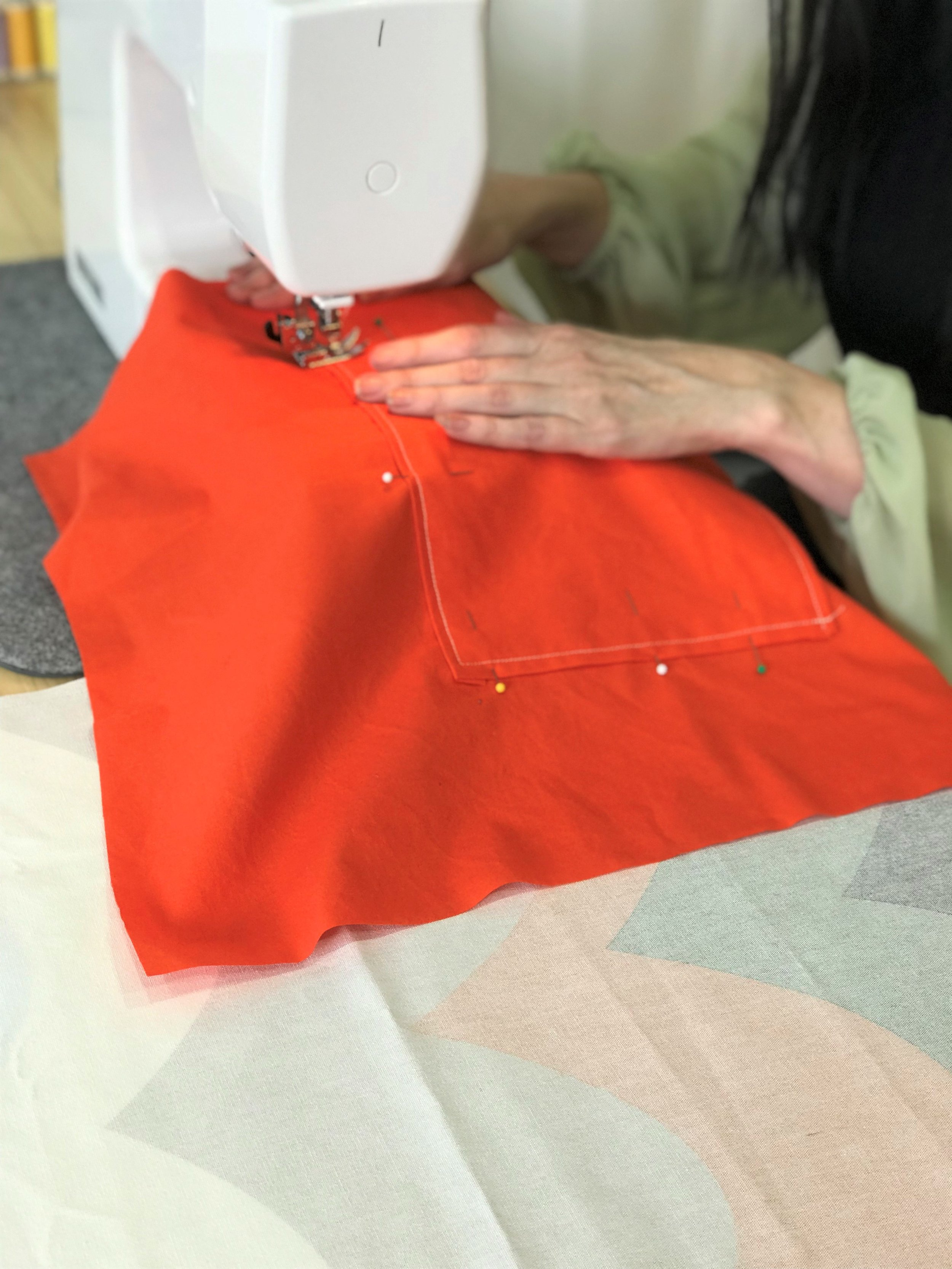 Sewing pockets into the lining of a first tote bag!