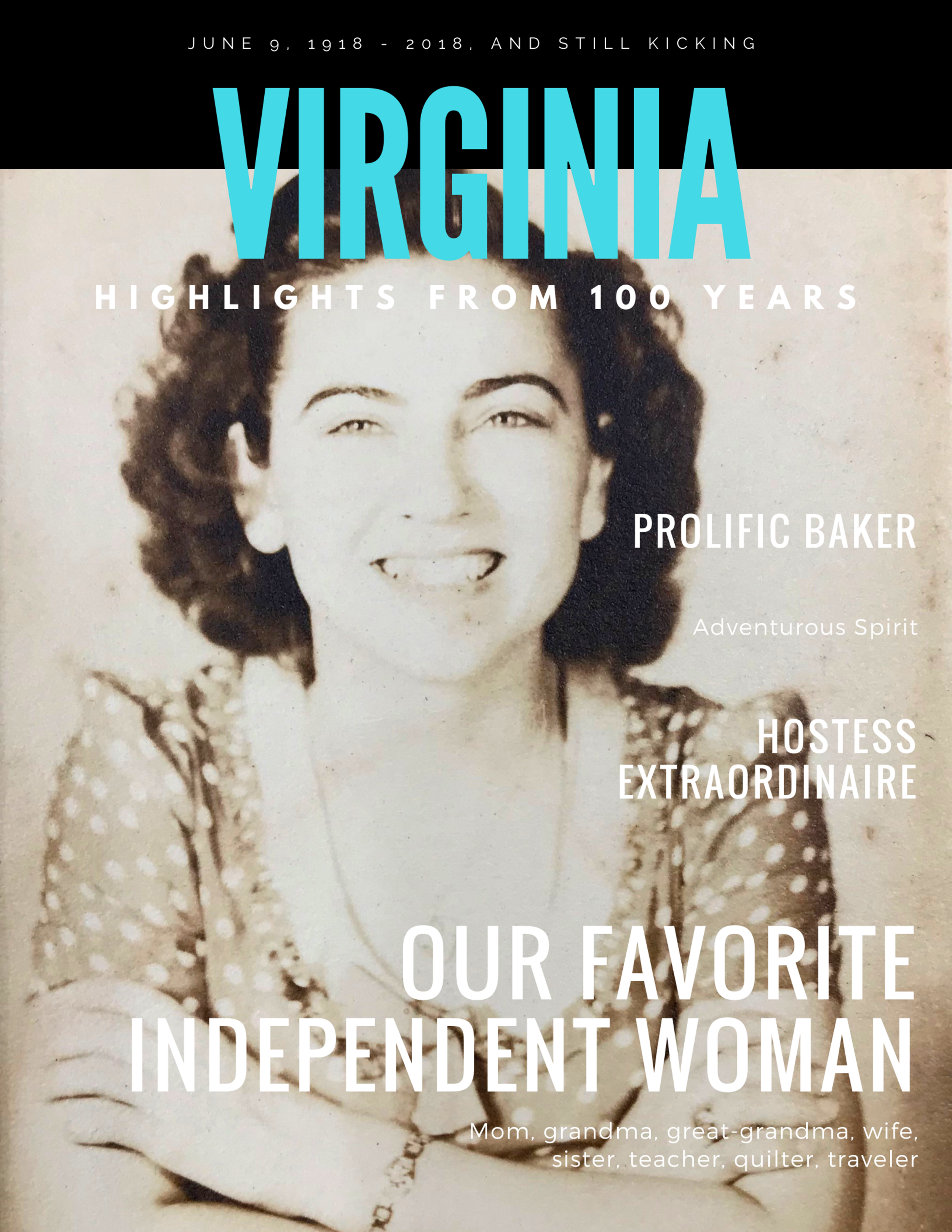 Cover of the book I put together talking about my grandmother's 100 years of adventures and accomplishments (gift to her and descendants).