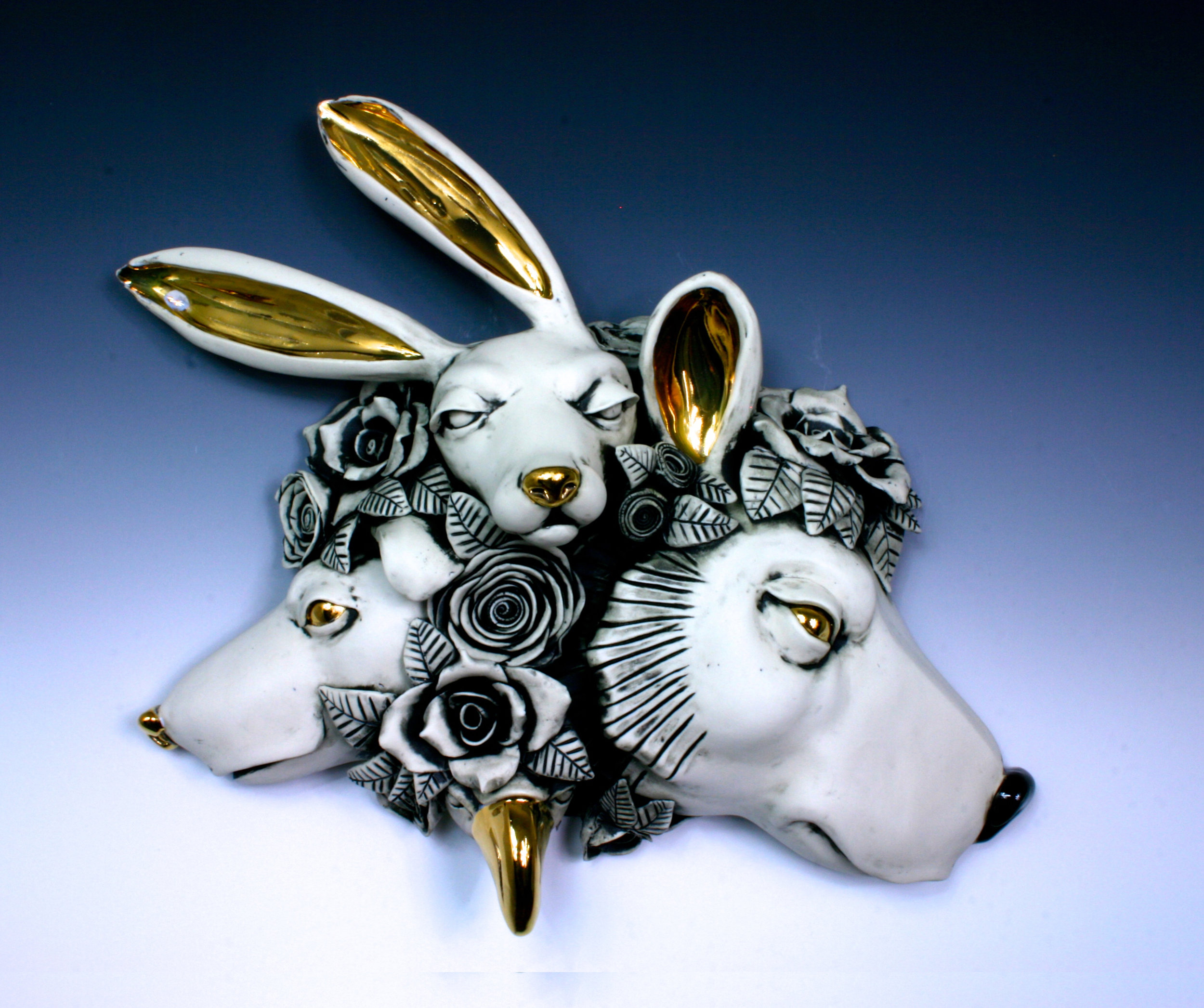 5. Cluster, Bear Thoughts , H6'' x L14.5'' x W 15'' porcelain, under glaze, glaze and luster, wall hanging $850.jpg