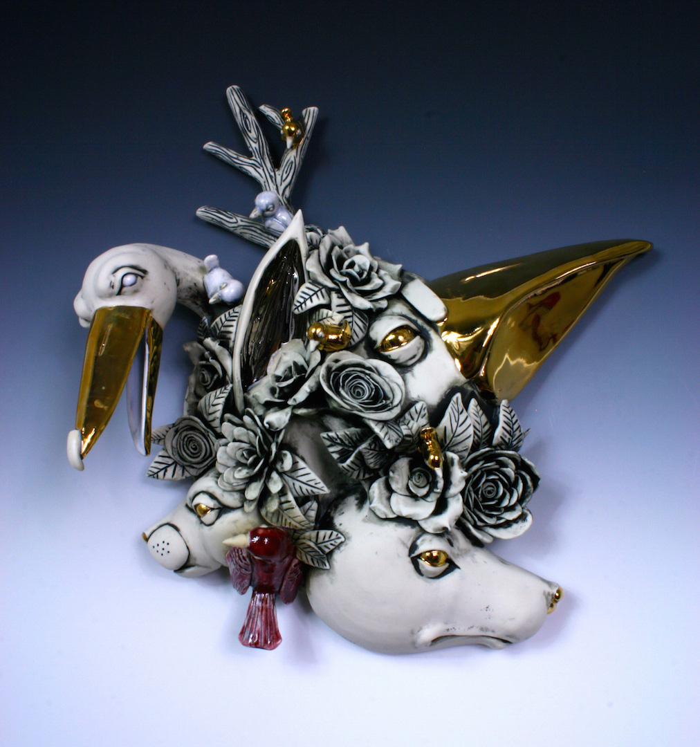 6. Cluster, The Cranes Knows Best, H6'' x L17'' x W16 porcelain, under glaze, glaze and luster, wall hanging$850.jpg