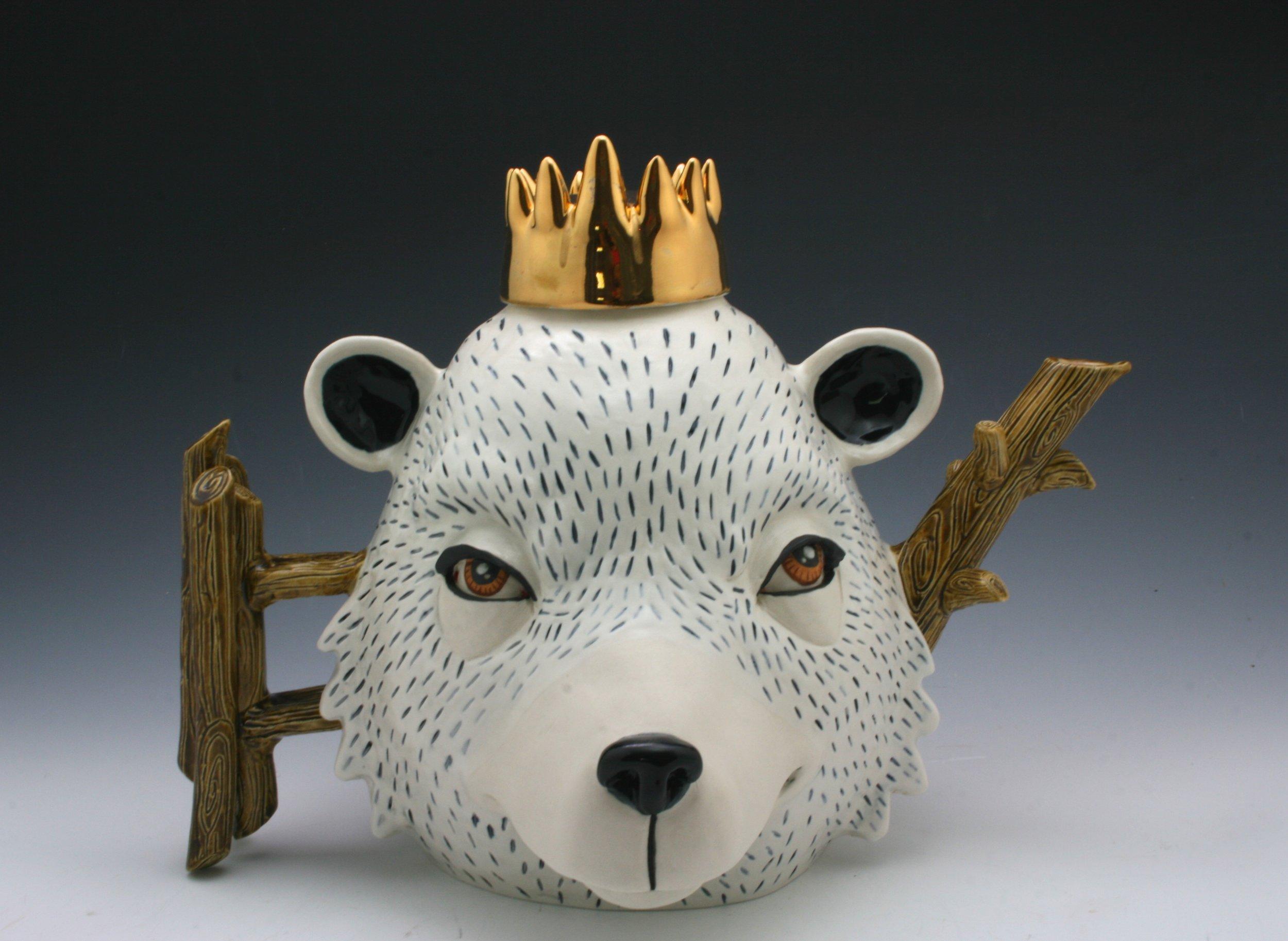 Bear King,  H9''xW13''xL9'', porcelain, under glaze, glaze and luster.JPG