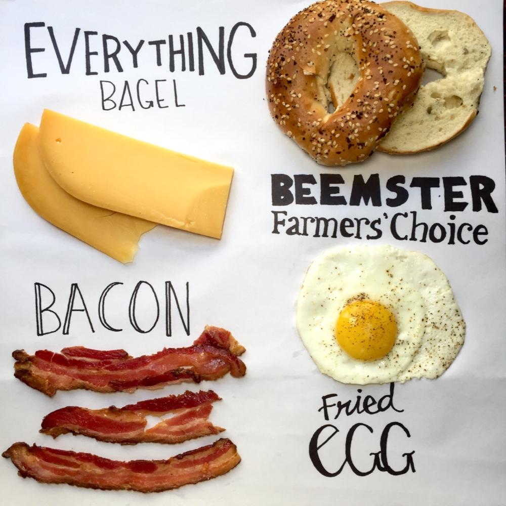 Farmer's Choice, Egg, and Bacon on a Bagel