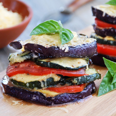 5: To Celebrate the Veggies of Summer - For a Great Veggie Barbeque Dish: Paradiso Grilled Veggie Stacks This summery dish showcases some of the season's finest fresh produce: eggplant, zucchini, and juicy tomatoes. The veggie stack's simplicity and make-ahead ease make it ideal for easy entertaining—plus it's elegant and tasty. Inspired by Italy and made in Holland, tangy, melt-able Paradiso Vintage imparts a great richness. This dish is even better served with crusty bread, and a crisp Pinot Grigio or a farmhouse ale.