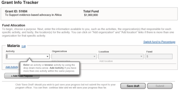 Wireframe of Grant Information Tracking System