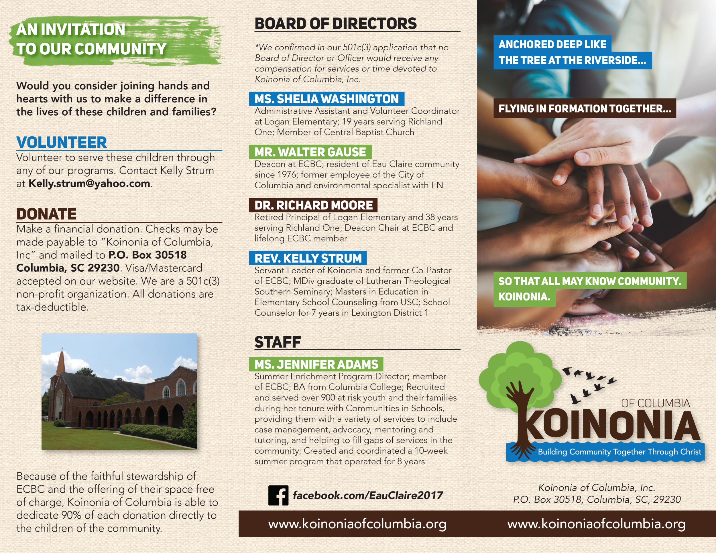 Download our brochure - Our informational brochure in PDF format is available for you to download and print to share the mission of Koinonia of Columbia.