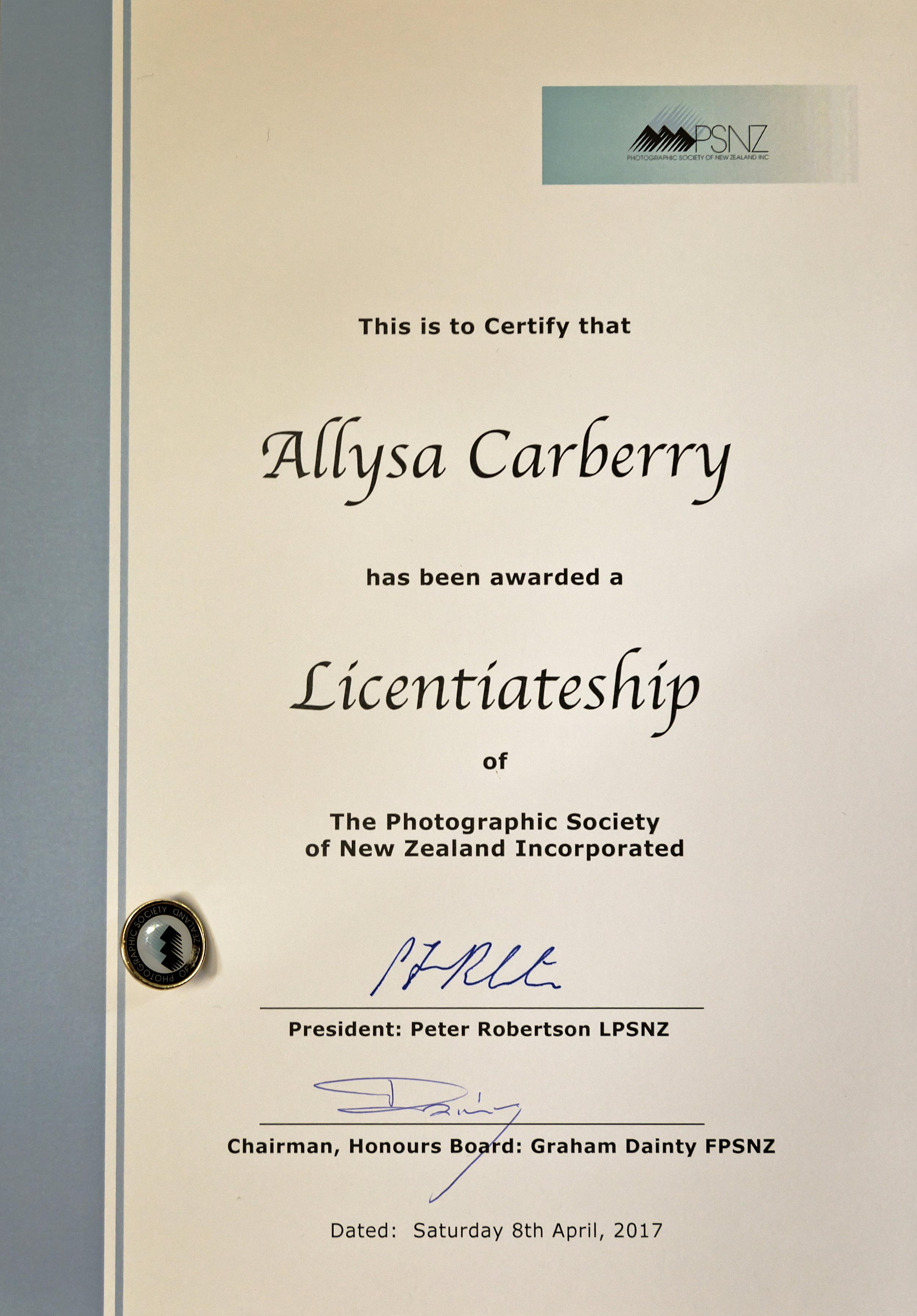 Licentiateship Honours Award