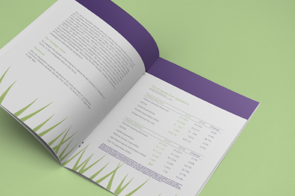 Inside Pages Mockup of Telus Financial Document