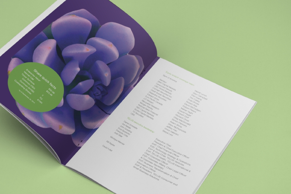 Telus Financial Document Table of Contents Mockup