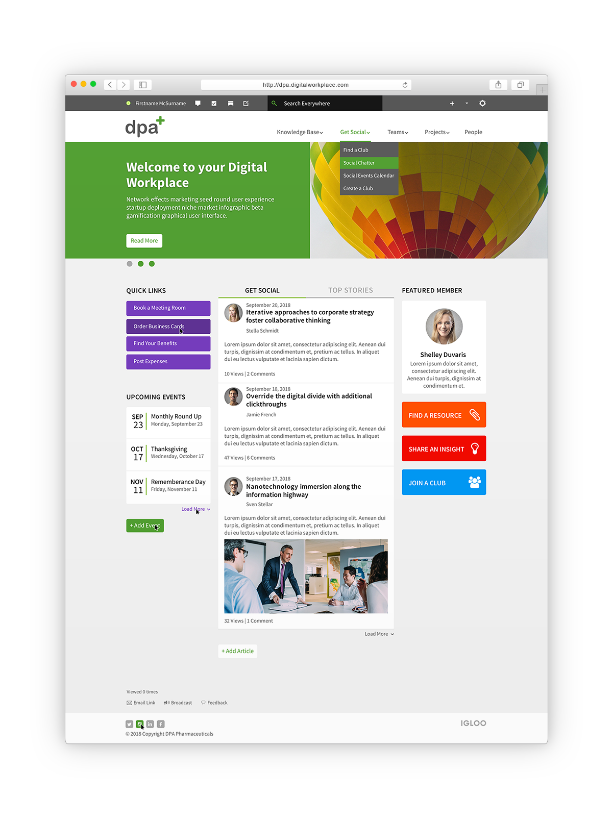 Pharmaceutical Association Digital Workplace Mockup