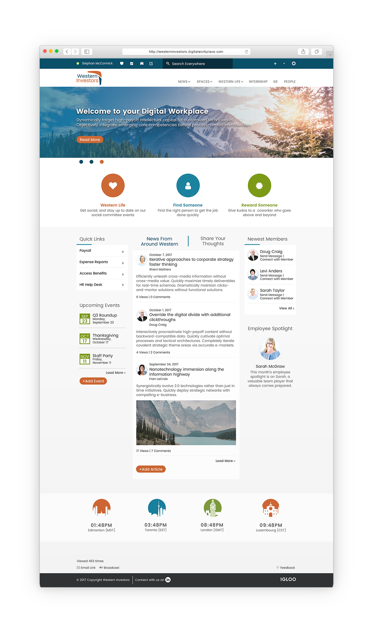 Investment Firm Digital Workplace Mockup