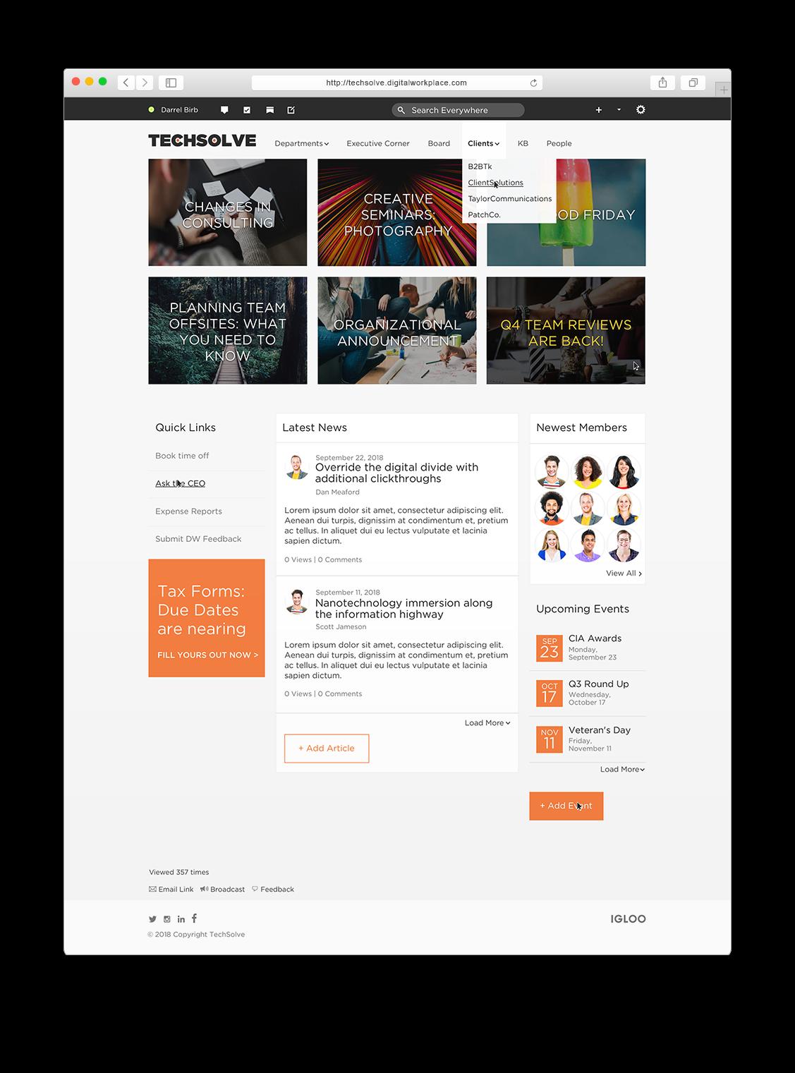 Tech Startup Digital Workplace Mockup