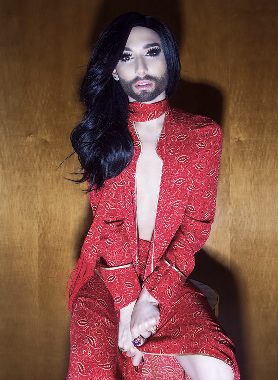 Singer Conchita Wurst for VIVA MAGAZINE. Photographer: Guy Coombes.