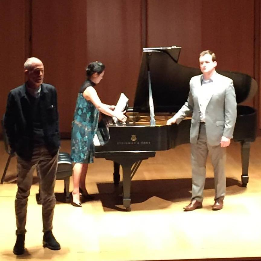 Eric with Pulitzer Prize winning composer John Luther Adams introducing his piece 'Little Cosmic Dust Poem' before performing the premiere with Jingwen Tu at the Morgan Library.