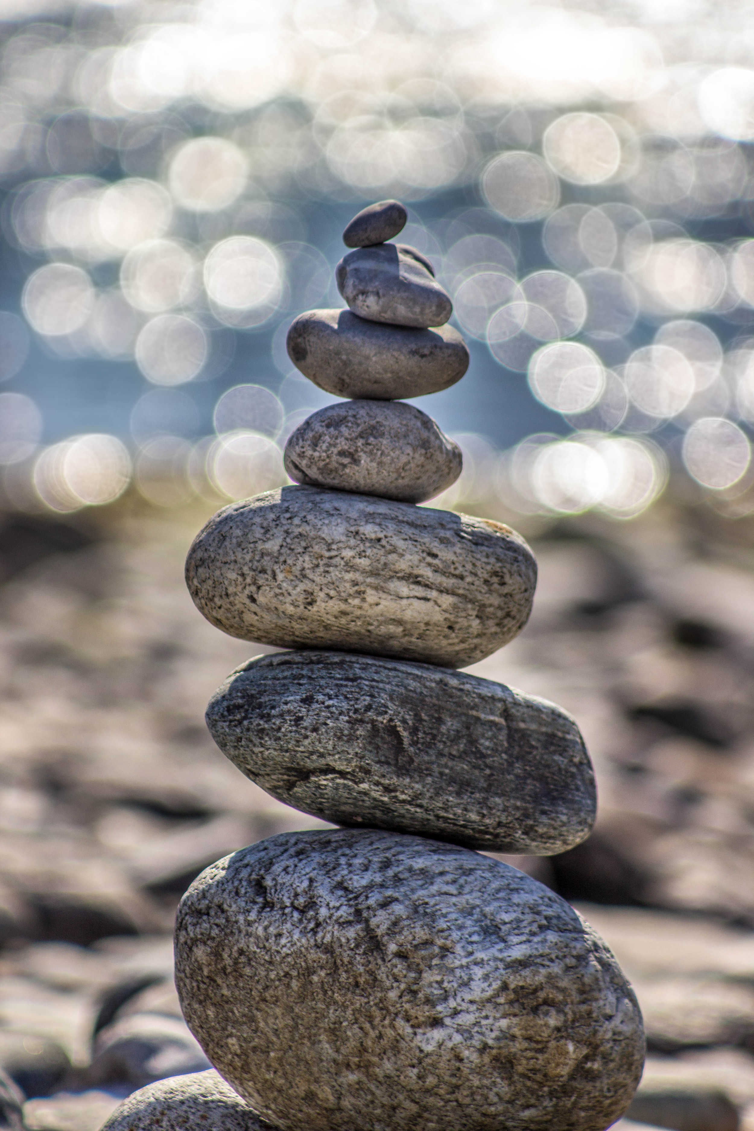 Balanced rocks with a peaceful bokeh backdrop