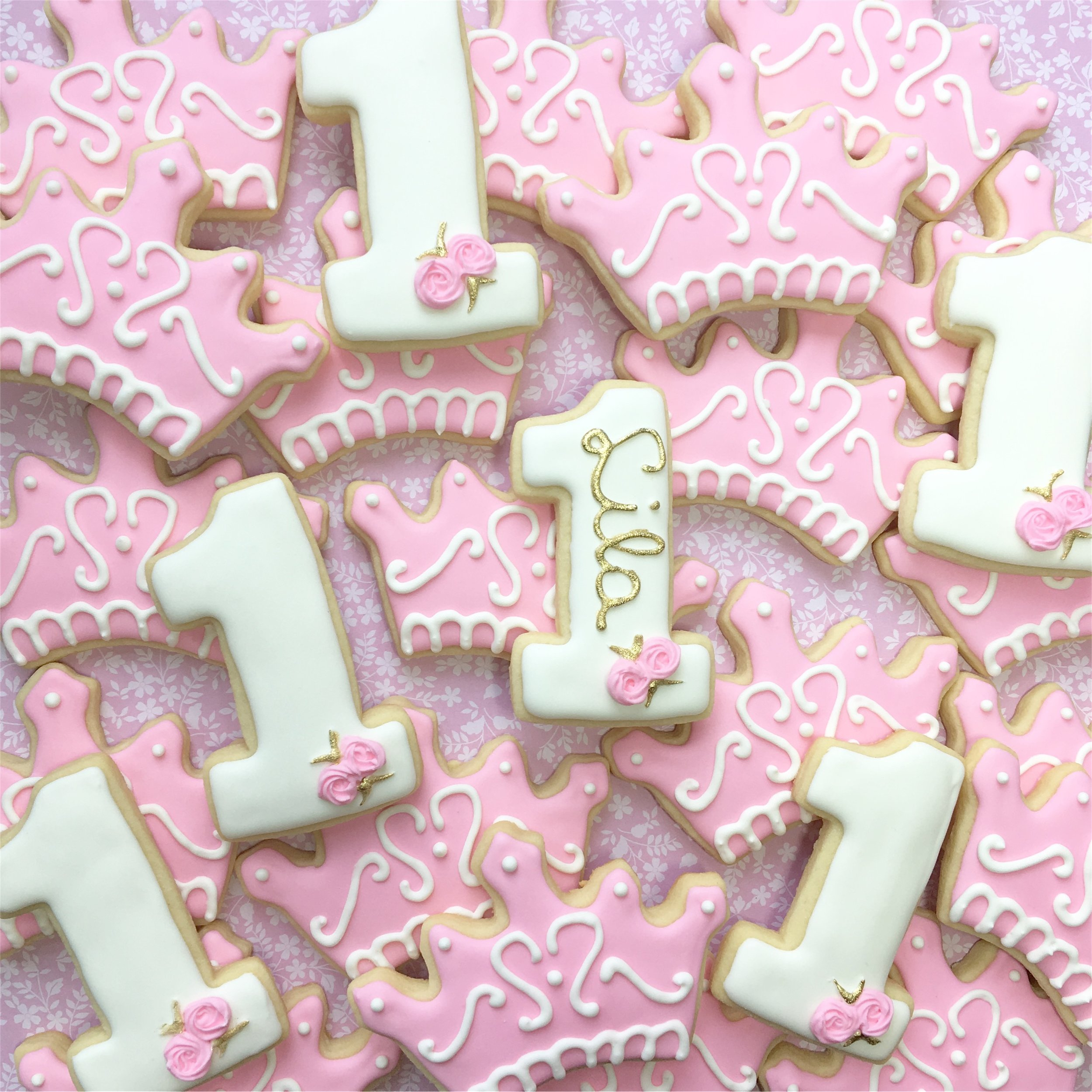 Princess First Birthday Cookies