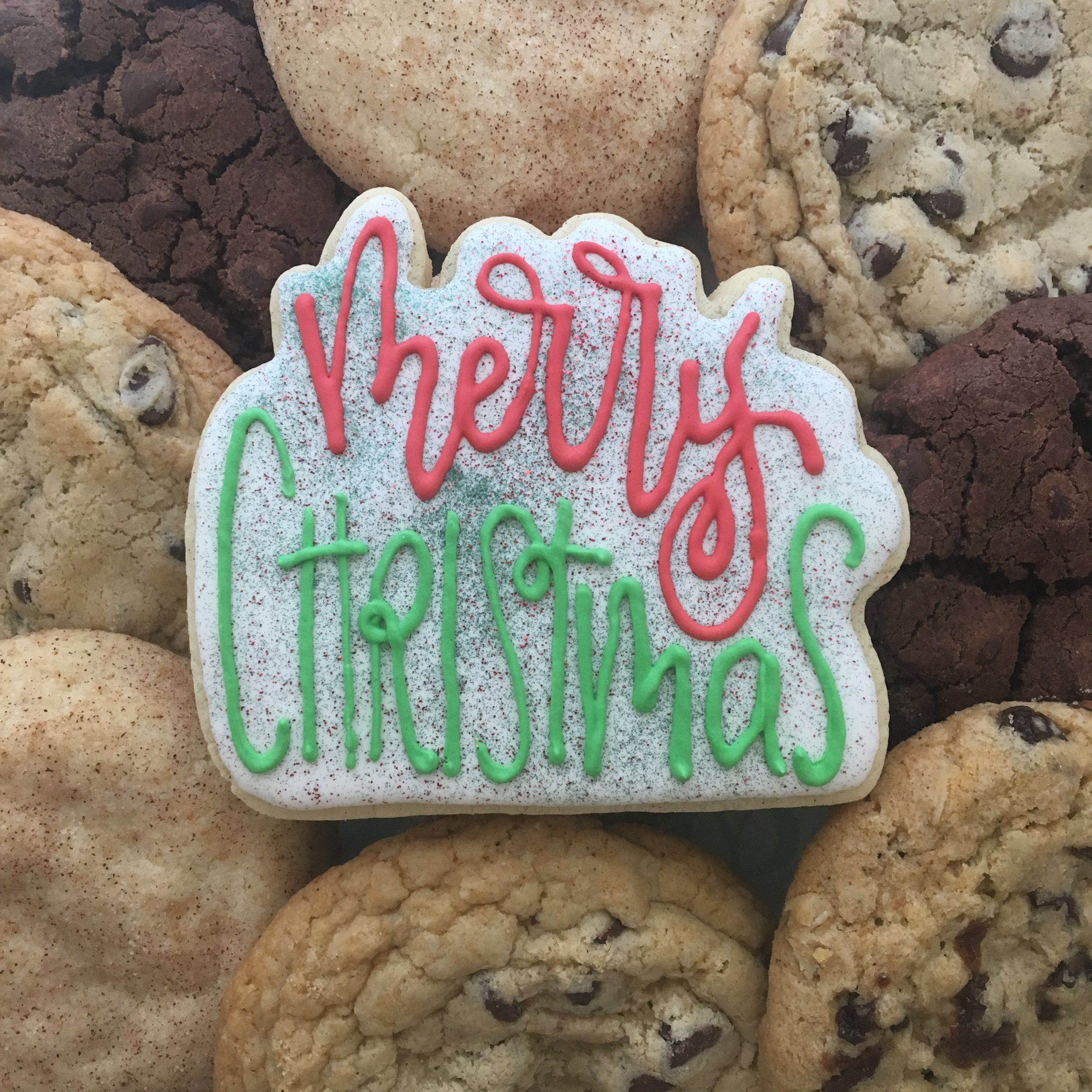 Merry Christmas Sugar Cookie with Chocolate Chip Cookies
