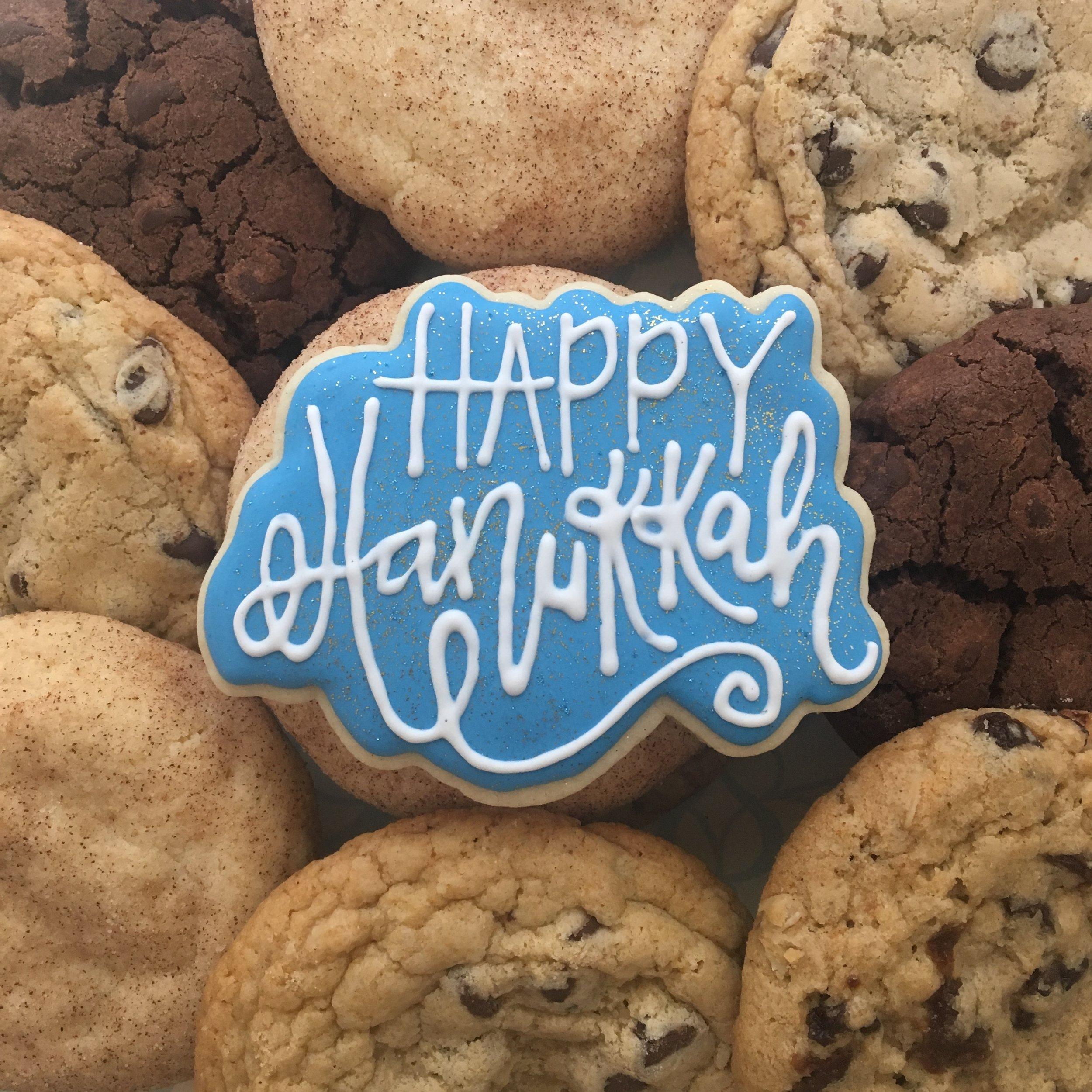 Happy Hanukkah Sugar Cookie with Chocolate Chip Cookies