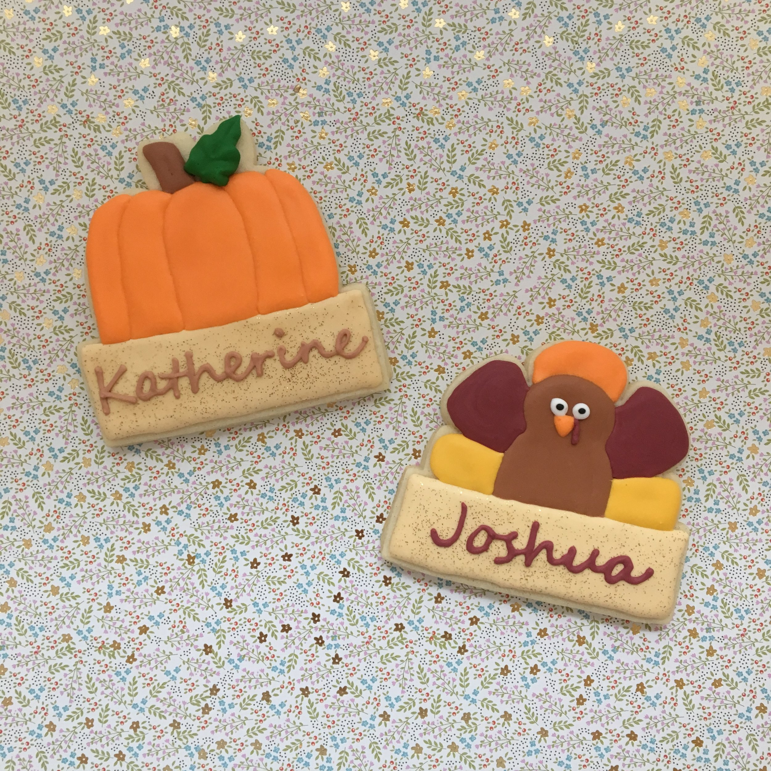 Thanksgiving Place Card Sugar Cookies