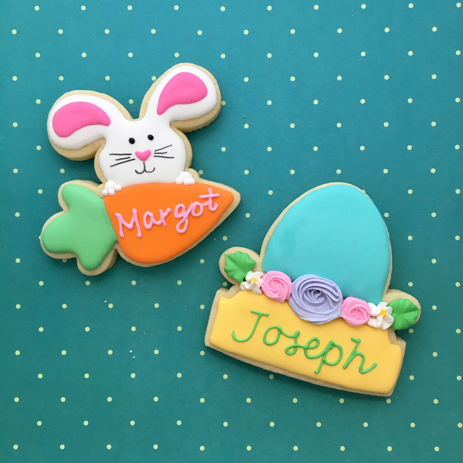 Customized Easter Place Card Sugar Cookies