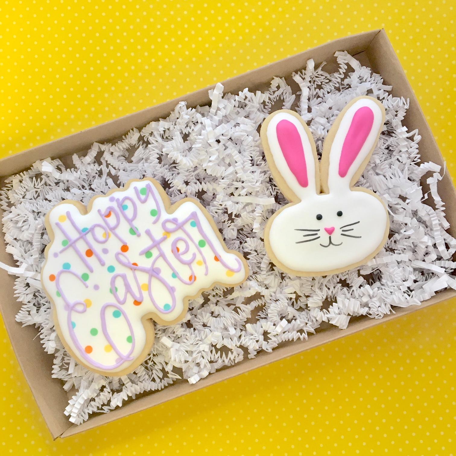 Custom Hoppy Easter Sugar Cookies 2-pack Gift Box