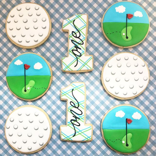 Little Jack turned the big 1️⃣ with a golf themed birthday. So cute! ⛳️🏌️♂️(Designs inspired by @minniescookies 😊) #firstbirthday #firstbirthdaycookies #golfdecoratedcookies #golf #baking #sugarcookies #cookies #decoratedcookies #decoratedsugarcookies #edibleart #customcookies #cookieart #cookiedecorating #cookiesofinstagram #instagood #royalicing #thisisCLE #CLE #mksweetsco