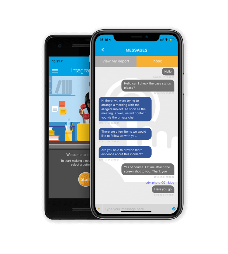 Anonymous mobile chat with employer