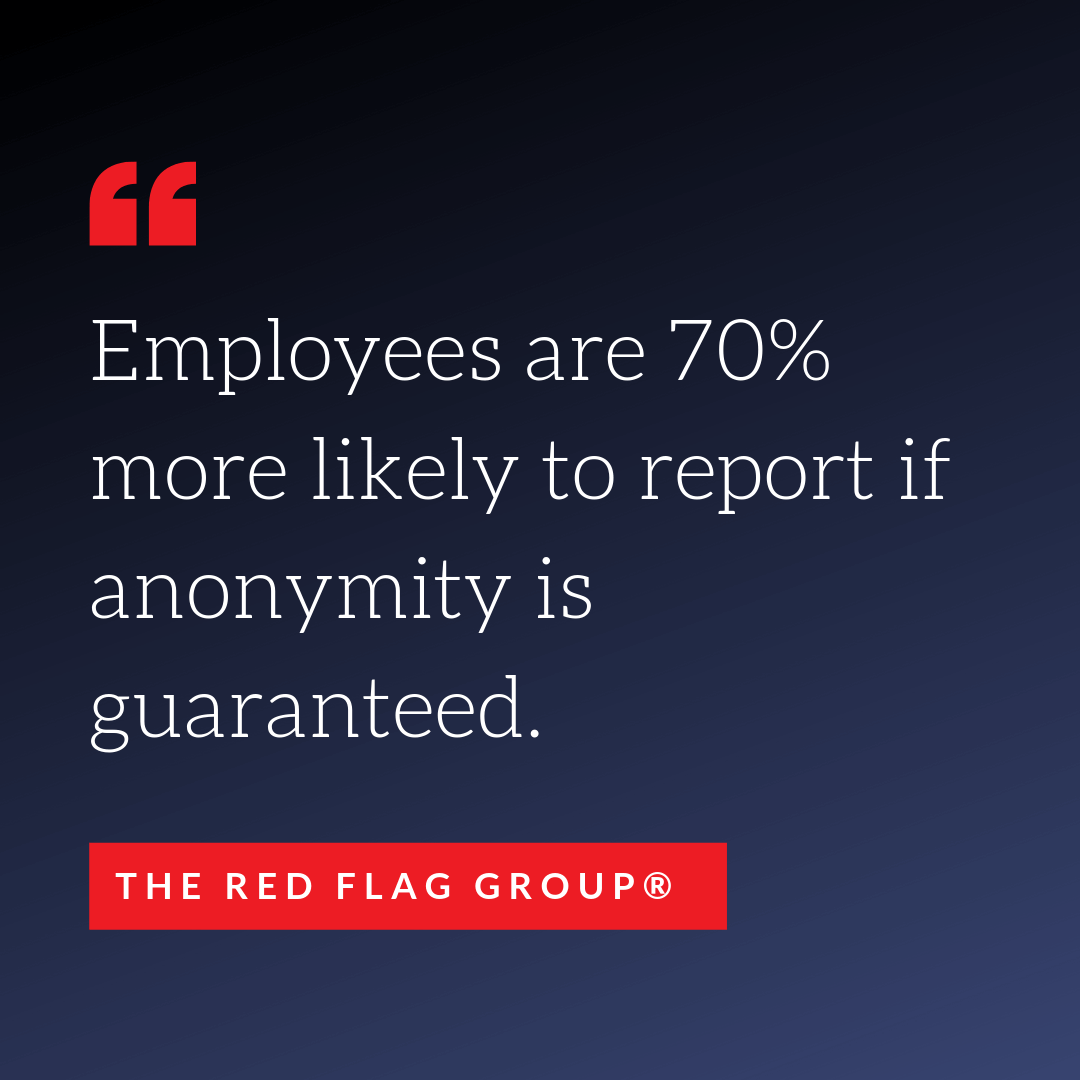 Employees are 70 percent more likely to report if anonymity is guaranteed