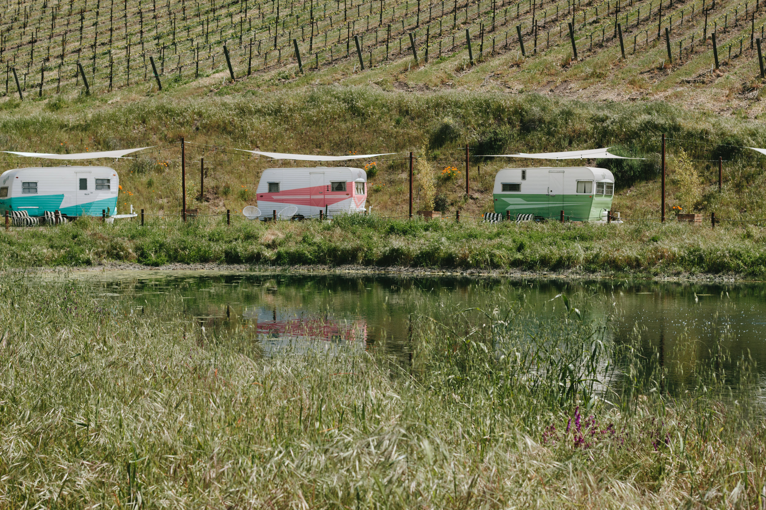 Paso Robles Alta Colina Vineyard Winery Tinker Tin Trailer Pond