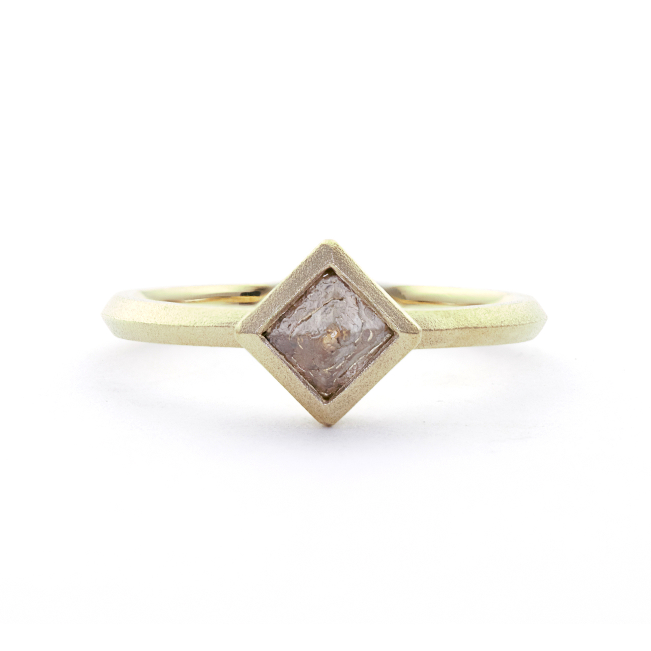 natural diamond crystal solitaire ring