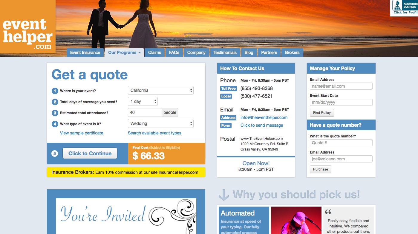 event helper event and wedding insurance