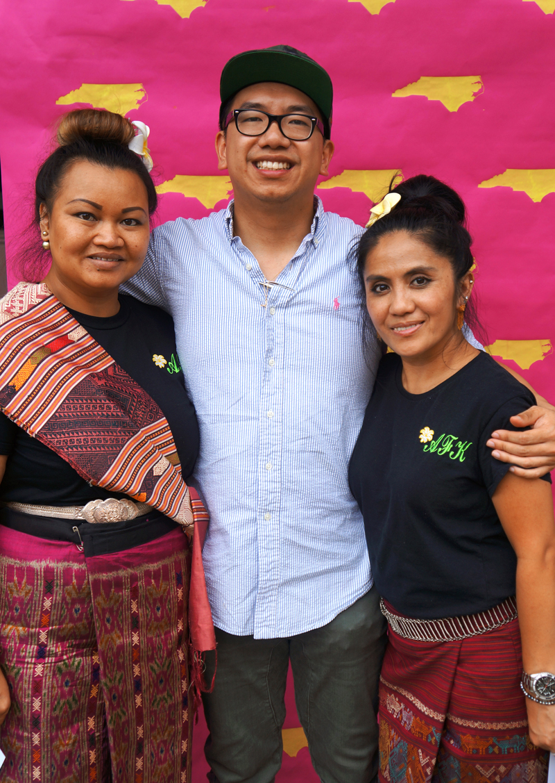"Lanoy Tammavongxay, Mee Phapphayboun, and Charlie-Nguyen. ""What's Your NC Story?"" at the 2016 National Folk Festival. Photo courtesy Katy Clune."