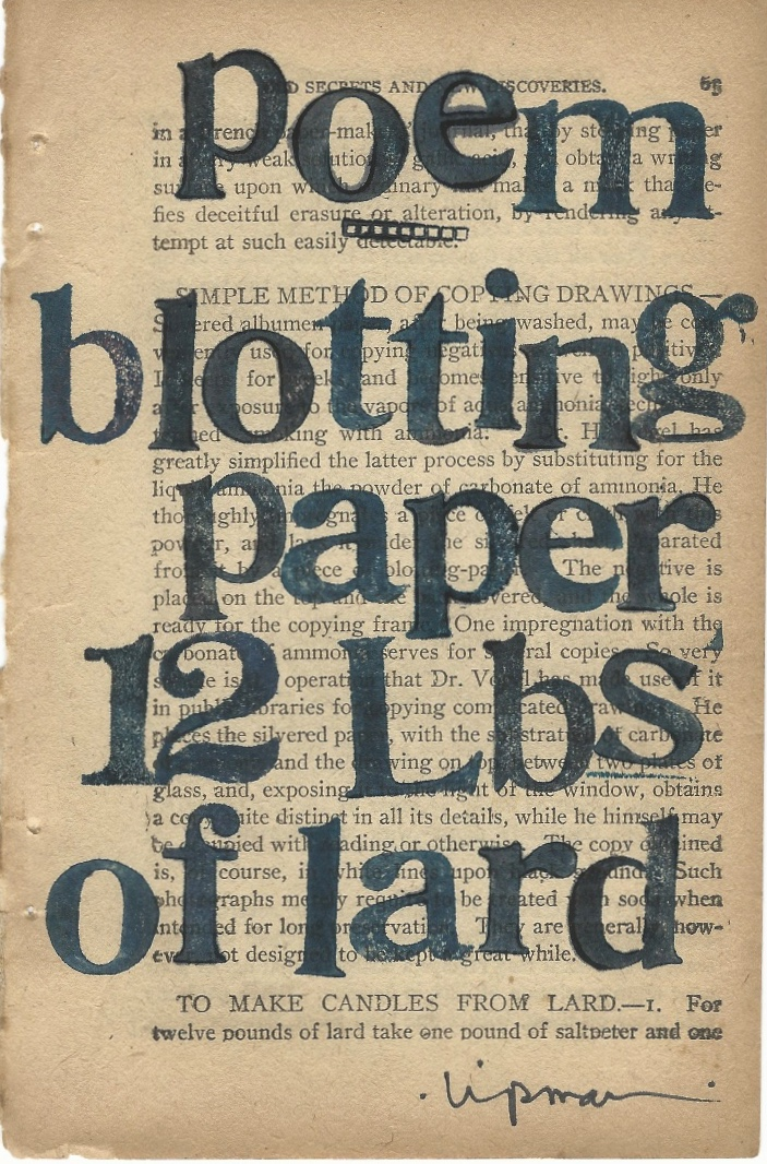"""""""poem blotting paper 12 Lbs of lard"""" is stamped in large letters on a yellowed page from a book. The text takes up most of the page, and the author has signed his name at the bottom."""