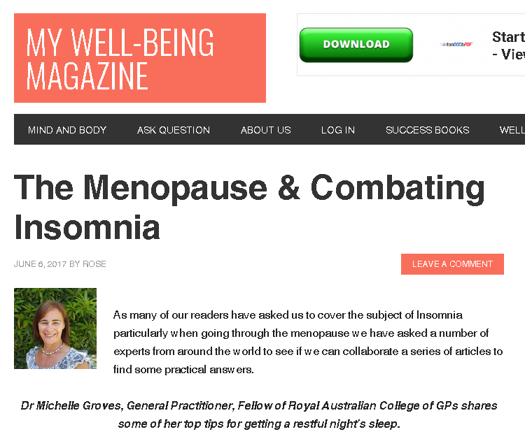 My Well Being - Insomnia in the menopause