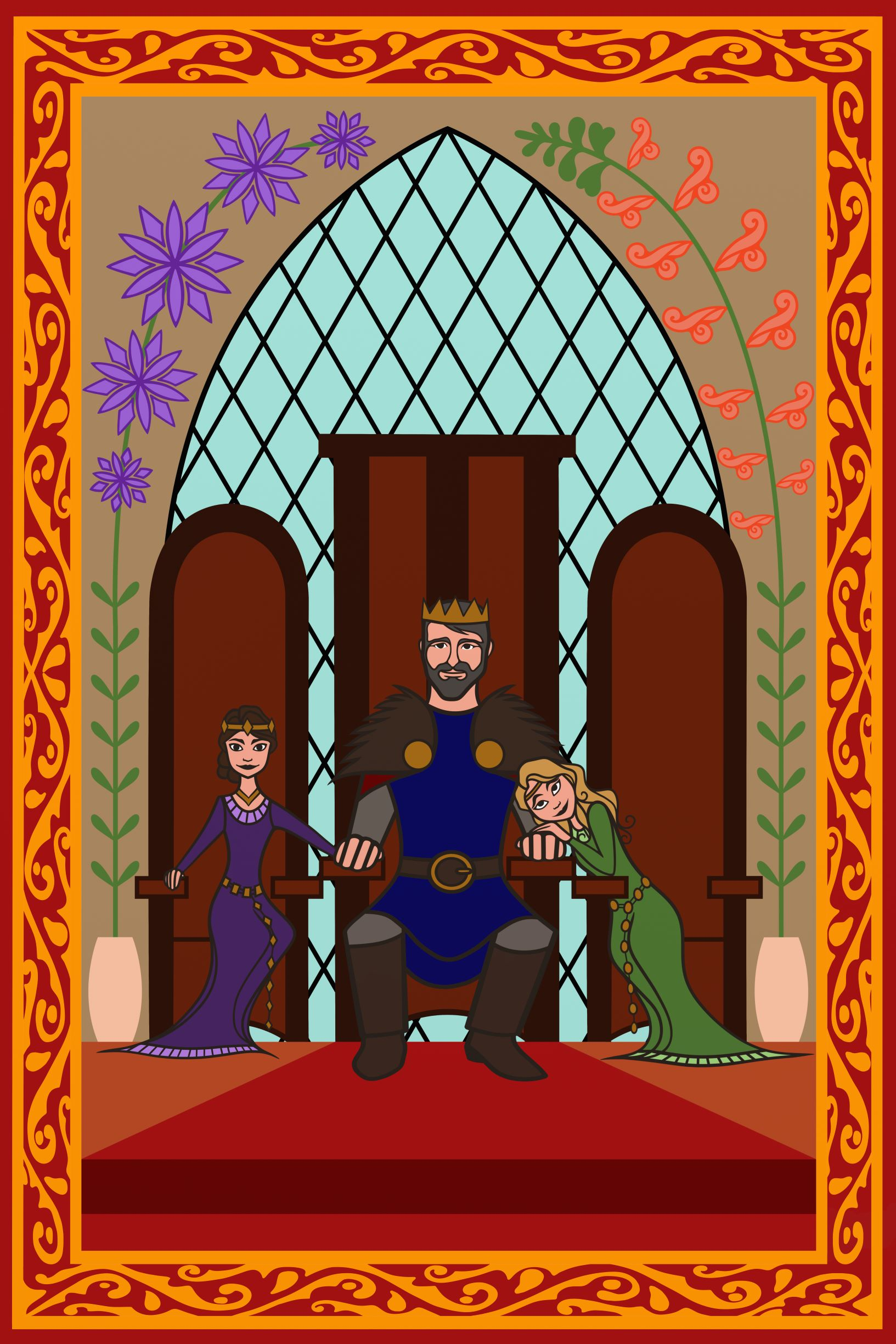 Early concept art for a tapestry featuring King Cedric and his daughters Chrysanthemum (left) and Snapdragon (right)  Copyright AD33 Productions 2018